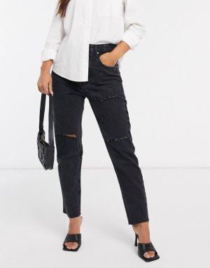 Stradivarius ripped mom jean in black