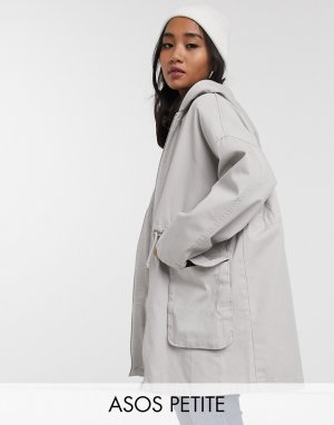 ASOS DESIGN Petite lightweight parka in washed gray