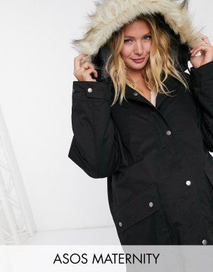 ASOS DESIGN Maternity faux fur lined parka in black