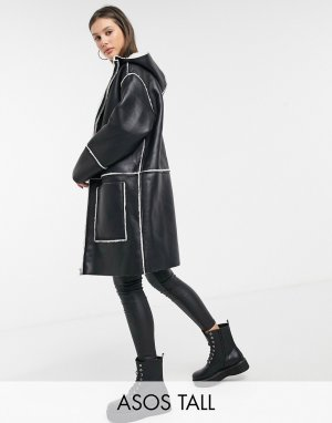 ASOS DESIGN Tall shearling parka with borg detail in black