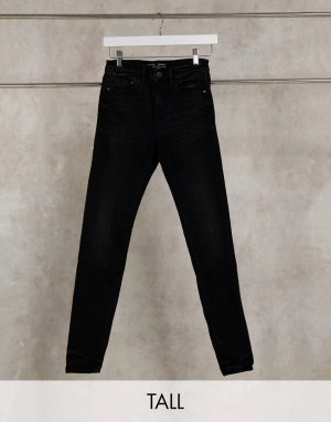 Stradivarius Tall high waist skinny jeans in black