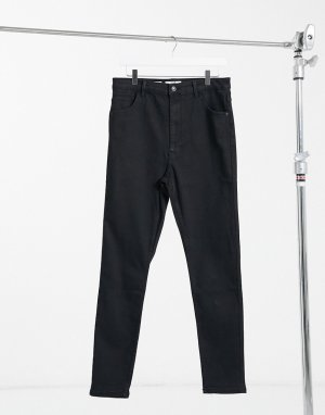 Bershka high rise skinny jean in black