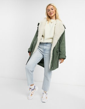 ASOS DESIGN waterfall parka with fleece lining in khaki