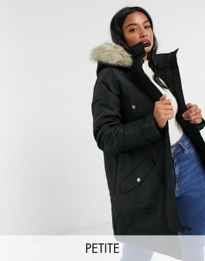 Vero Moda Petite parka with faux fur hood in black