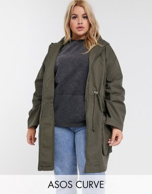 ASOS DESIGN Curve lightweight parka in khaki