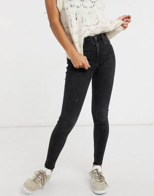 Stradivarius skinny jeans with slit hem detail in black