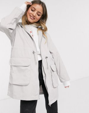 ASOS DESIGN lightweight parka in washed gray