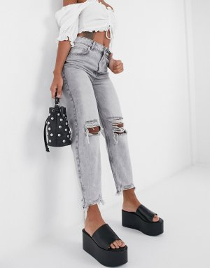Bershka ripped mom jean with distressed hem in washed gray