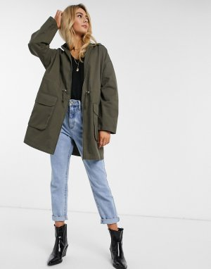 ASOS DESIGN lightweight parka in khaki